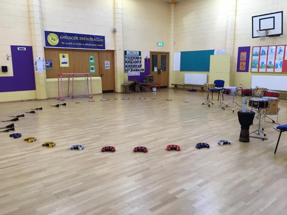 Transition Year Workshop: 'Let's Drum' percussion set up