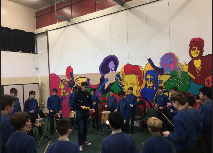 Mobile Music School drumming workshop in Moyle Park College